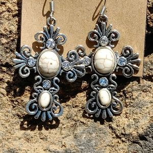 Silver Filigree Cross Earrings In Multiple Colors